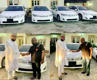 E-Money Gives Out Brand New Cars To His Workers As He Celebrates His Birthday